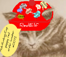 RedElf dashing in her red ideas-hub-cap.