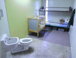"""Family Cell"" at T. Don Hutto - This photo was taken during a tour of the facility after CCA cleaned the place up."