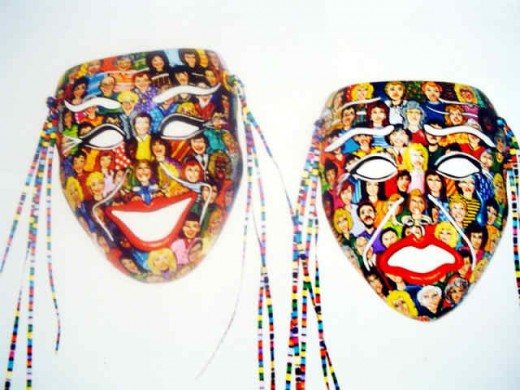 Comedy tragedy masks with happy and sad crowd scenes, sports or theatrical themes.