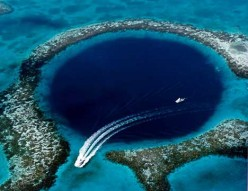 The Great Blue Hole, located near Ambergris Caye, Belize.