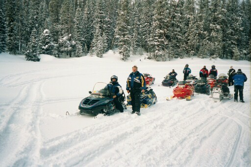 Wyoming 2002. I am on the far left sitting on my ole trusty snowmobile.