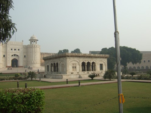 View of the gate from near Badshahi Mosque opposite