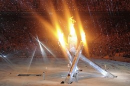 A scene from the torch lighting at the Vancouver Olympic opening ceremony.//Reuters