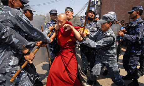 Tibetan Monk Beaten by Chinese Police