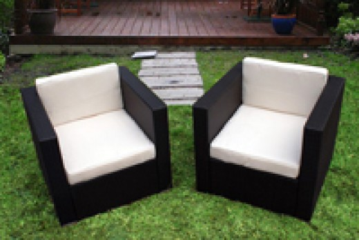 Backyard patio resin wicker is available with several different fabric selections including sunbrella and marine grade water proof.