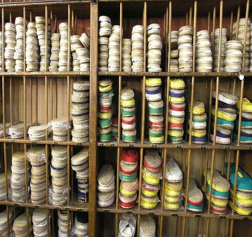 Catalonian Espadrilles on display in a small shop in Barcelona.