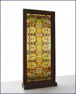 A typical pattern for a stained glass window designed by Frank Lloyd Wright.