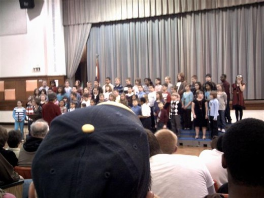 Marc and his classmates performing at the concert