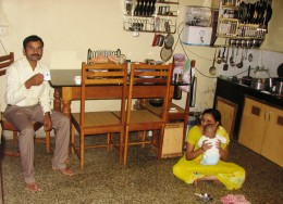 Santosh enjoying his morning cuppa with his family.