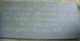The Prince Madog commemorative stone at Aber Cerrig Gwynan, (hos-on-sea) north Wales