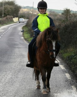 High visibility and reflective safety wear clothing and equipment for riders when horse riding on the road