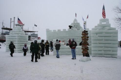 People Around The Ice Castle
