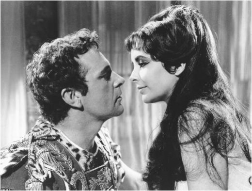 In the 1963 epic film Burton starred as Anthony, alongside Taylor who played a beautiful Cleopatra.
