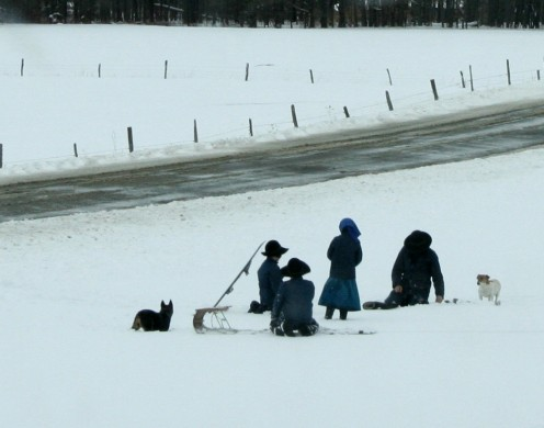Photo of Amish Children Playing In The Snow