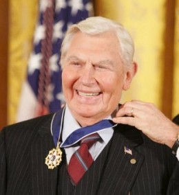 Andy Griffith's family had Welsh roots. He was awarded the Presidential Medal of Freedom by President George W Bush on Nov 2005. Photo Attribution: http://commons.wikimedia.org/wiki/File:Griffith,_Andy_(Whitehouse).jpg
