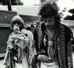 Brian and Jimi Hendrix at Monterey in 1967