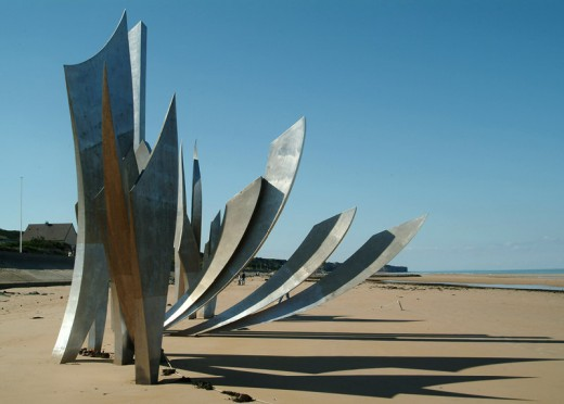 """Les Braves""  erected on Omaha Beach in 2005"