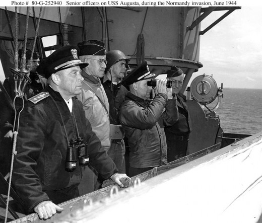 Officers on USS Augusta observing the Normandy Landings (from military archives)