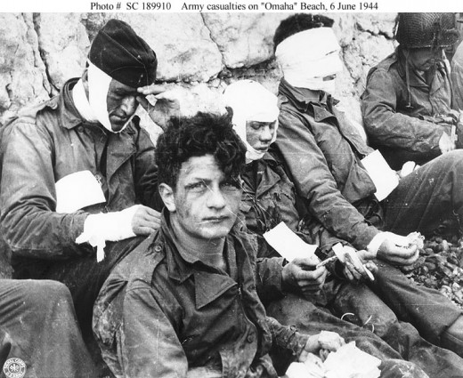 Wounded men from 3rd Bat.,16th Infantry Division after storming Omaha Beach 6/6/1944 (from military archives)