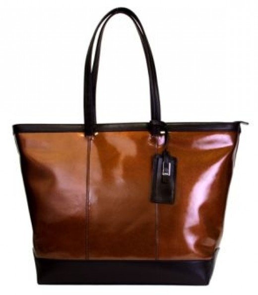 Lodis Flash Collection Laptop Tote in bronze metallic leather            http://www.airlineinternational.net/lofllato.html