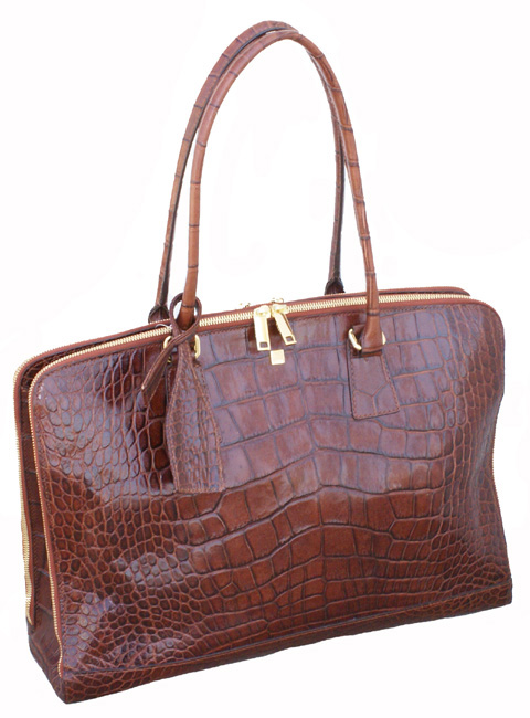 Lodis Dalja Collection Laptop Tote in crocodile embossed calfskin          http://www.airlineinternational.net/lodalazito.html