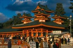 The brilliant orange Heian Shrine, Kyoto.