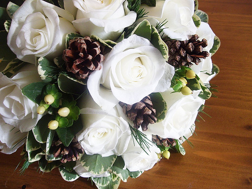 Christmas bridal bouquet.