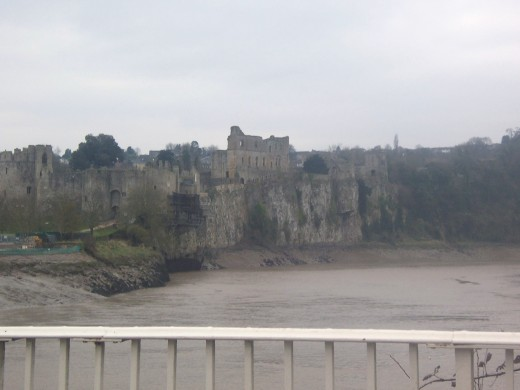 Chepstow Castle overlooking the River Wye in Wales