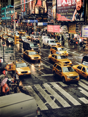 """New York Taxis"" by ShedBOy^ from Flickr. Original URL: http://www.flickr.com/photos/shedboy/3681317392/"