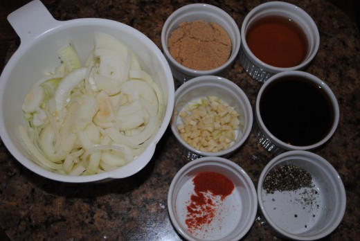 Yellow onion, brown sugar, garlic, apple cider vinegar - all you need for this deceptively simple recipe.