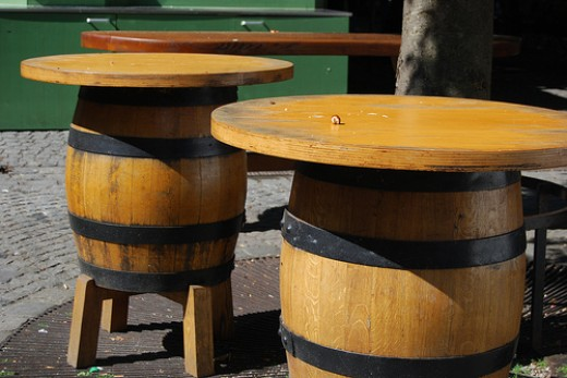 Wooden beer barrel tables