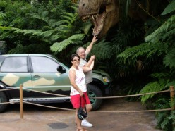 Goofing off at Jurassic theme park in Florida.