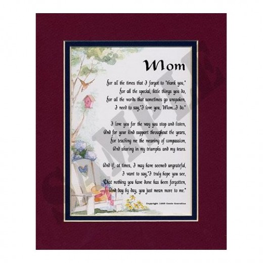 """""""Mom"""" Touching Poem, Double-matted In Burgundy/Dark Green And Enhanced With Watercolor Graphics (Order from Amazon below)"""