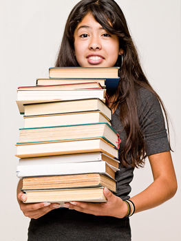 This girl found her required books, but how is she going to read all that?