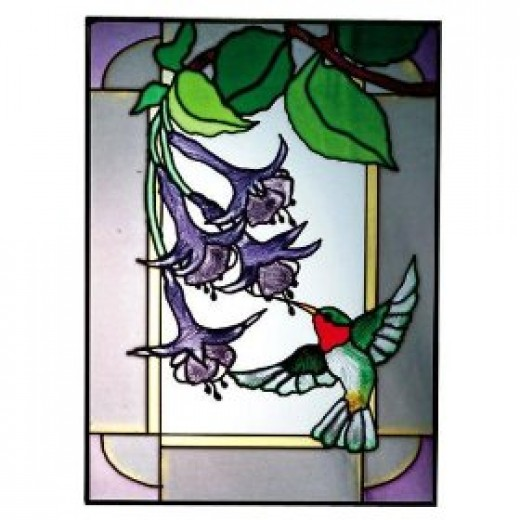 Humming Bird Fuchsia Vertical Stained Glass Panel. Note the black lines.  That is from black patina which makes the colors stand out.