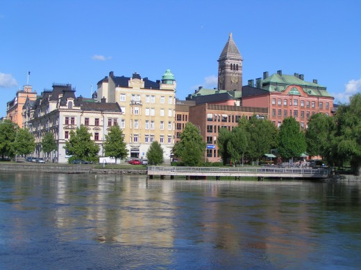 A panoramic view of Norrkoping and Motala strom (river)/ Photo by CaribeM