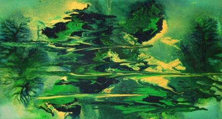 DEPTHS OF BEING -- original fluidism painting by Robert Kernodle