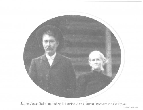 Book page 43 JJ Gallman and Lavina Ann (Farris) Richardson Gallman