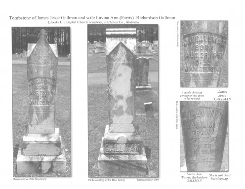 Book page 44 JJ Gallman  James Jesse Gallman Tombstone. Liberty Hill Baptist Church cemetery, in Chilton County Alabama. Photo by Jenney Doss