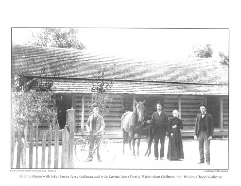 Book Page 46 A Gallman with bike, Jesse James Gallman and wife Lavina Ann (Farris) Richardson Gallman, and Wesley Chapel Gallman