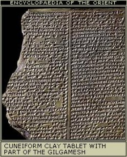 A clay tablet containing part of the Gilgamesh epic poem, composed before 2000 BCE in southern Mesopotamia.