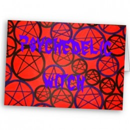 Psychedelic Witch - a finished greetings card on Zazzle