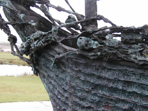 The Great Famine National Monument, a portion from a sculpture by John Behan of a coffin ship that took the Irish away.