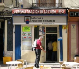 In Spain lottery tickets are sold in booths or in the street by official vendors...