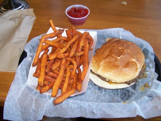 The Red Smoke with sweet potato fries