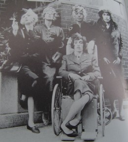 """Brian fagging (at left) with the Stones in a publicity shot for the song """"Have You Seen Your Mother Baby Standing in the Shadow?"""""""