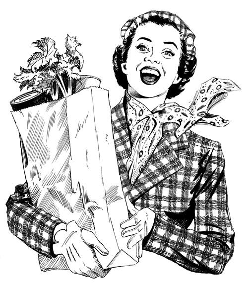 1950s WOMAN SHOPPING