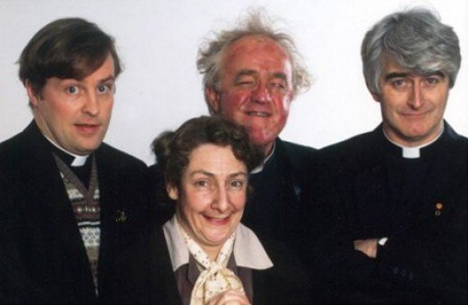 From the left Father Dougal, Father Jack, Father Ted, with Mrs Doyle in the front
