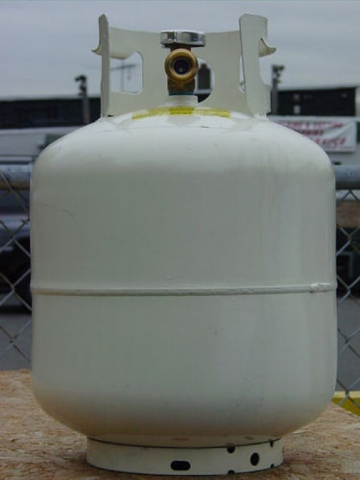 A 20 lb LP tank holds just less than 5 gallons of propane and must be fitted with several safety features including the check valve, opd and reverse seal check.