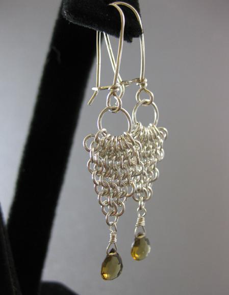 Chain maille waterfall earrings